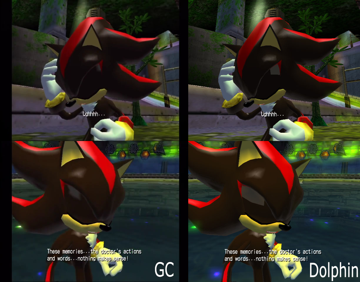 Shots from a GameCube at left, Dolphin at right